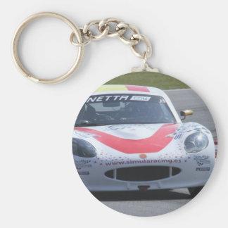 White Ginetta racing car Basic Round Button Keychain