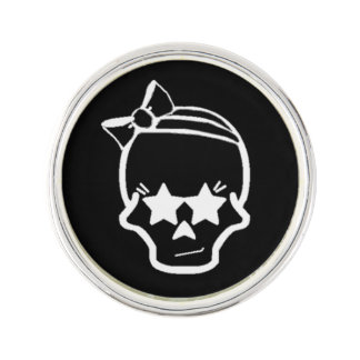 White Girly Skull with a Bow Line Art on Dark Lapel Pin