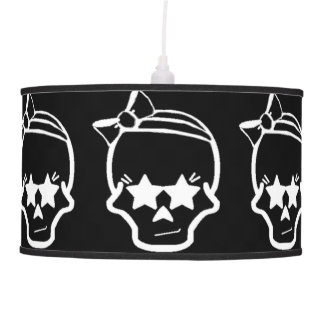 White Girly Skull with a Bow Line Art on Dark Pendant Lamp