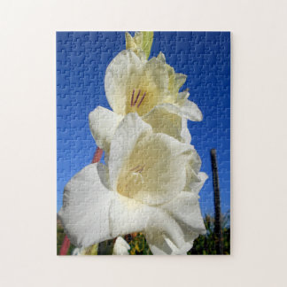 White Gladiolus And The Blue Sky Jigsaw Puzzle