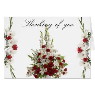 White gladiolus thinking of you card