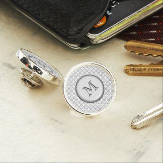 White glass button dot design lapel pin