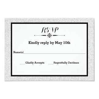 White Glitter and Black Frame- RSVP Response Card