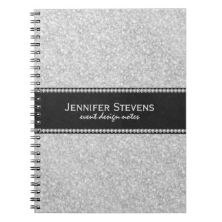White Glitter And Sparkles Black Accents Notebooks