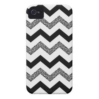White Glitter Chevron iPhone 4 Phone Case