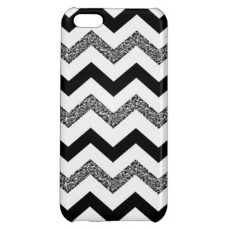 White Glitter Chevron iPhone 5C Glossy Finish Case iPhone 5C Cover