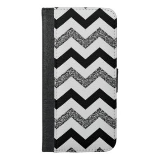 White Glitter Chevron iPhone 6/6s Plus Wallet Case