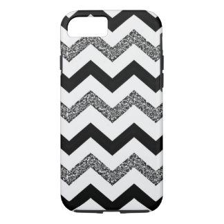 White Glitter Chevron iPhone 7 Phone Case