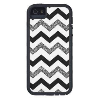 White Glitter Chevron iPhone SE/5/5s Phone Case