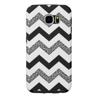 White Glitter Chevron Samsung Galaxy S6 Phone Case