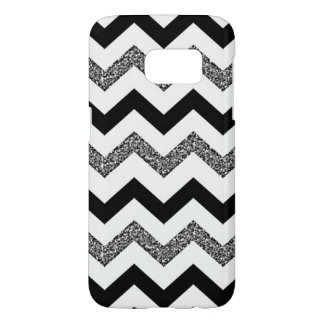 White Glitter Chevron Samsung Galaxy S7 Phone Case