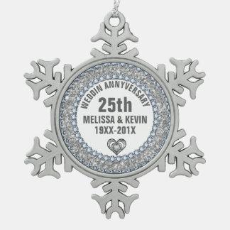 White Glitter & Diamonds 25th Anniversary Pewter Snowflake Ornament