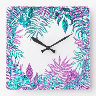 White Glitter Fuchsia Spark Blue Floral Pink Rose Square Wall Clock
