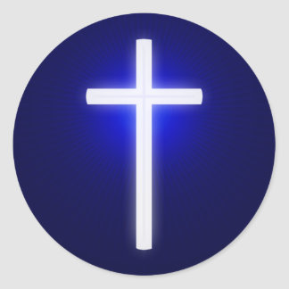 White Glow Religious Cross | Christian Navy Blue Classic Round Sticker