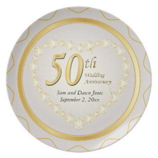 White & Gold 50th Golden Wedding Anniversary Party Plate