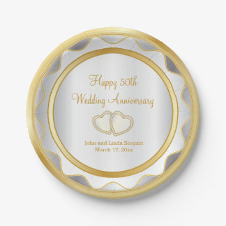 White & Gold 50th Wedding Anniversary 7 Inch Paper Plate