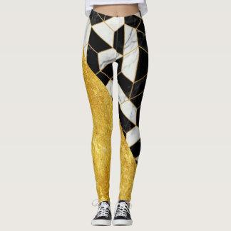 White Gold and Black Marble Women's Leggings