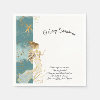 White Gold and Blue Angel Christmas Paper Napkin