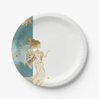 White Gold and Blue Angel Christmas Paper Plate