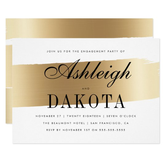 White & Gold Brush Stroke Engagement Party Card