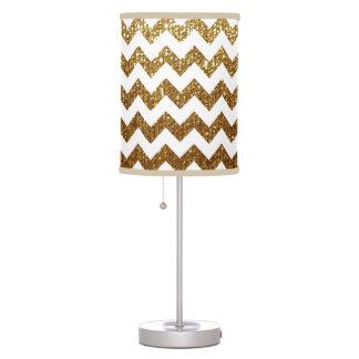 white & gold chevron table lamp