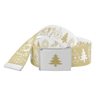 White/Gold Christmas Font Art Pattern Belt