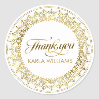 White & Gold Circle Lace Frame ThankYou Typography Classic Round Sticker