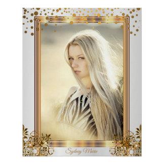 White & Gold Confetti Dots - Add your Photo Poster
