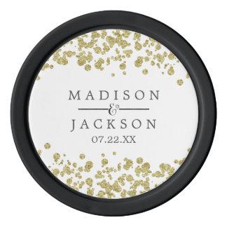 White & Gold Confetti Wedding Favor Poker Chips