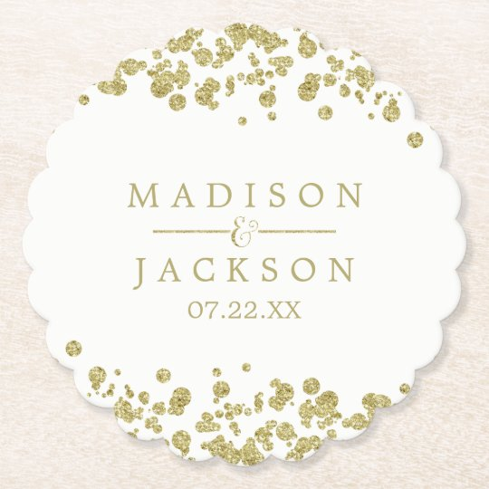 White & Gold Confetti Wedding Monogram Paper Coaster