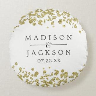 White & Gold Confetti Wedding Ring Bearer Round Pillow