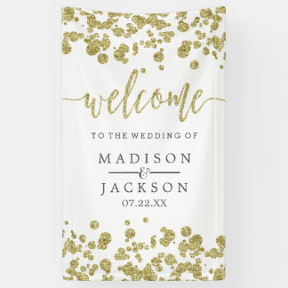 White & Gold Confetti Wedding Welcome Banner