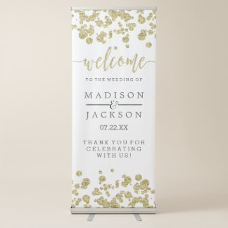 White & Gold Confetti Wedding Welcome Retractable Banner