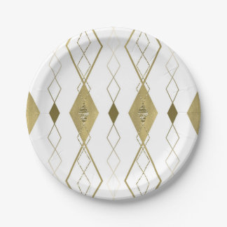White & Gold Diamond Glamour Modern Party Chic Paper Plate