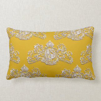 White Gold Dieu et Mon Droit British Coat of Arms Lumbar Pillow