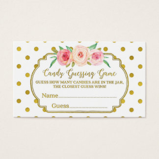 White Gold Dots Baby Shower Candy Guessing Game Business Card