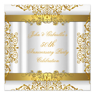 White Gold Elegant Gold 50th Wedding Anniversary Card