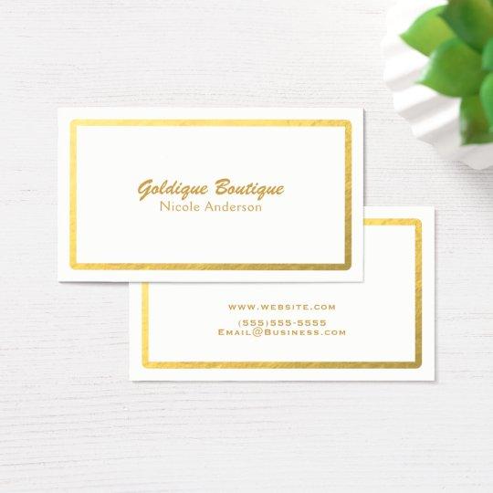White & Gold Faux Foil Shine Minimal Glam Business Card