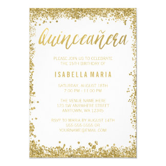 "White Gold Faux Glitter Quinceanera 15th Birthday 5"" X 7"" Invitation Card"