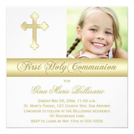 White Gold First Holy Communion Photo Invitation