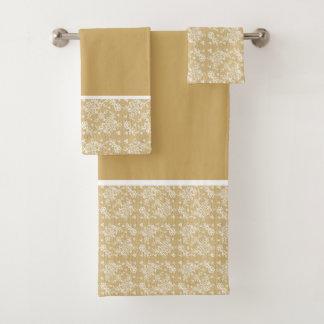 White & Gold Floral Lace Bath Towel Set