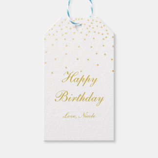 White & Gold Foil Confetti Dots Party Gift Tag