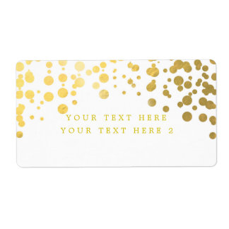 White & Gold Foil Confetti Modern Package Label Shipping Label