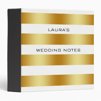 White Gold Foil Faux Simple Wedding Personalize Binder