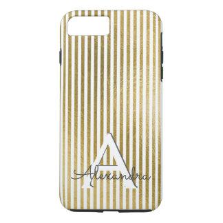 White & Gold Foil Striped Monogram & Initial iPhone 8 Plus/7 Plus Case