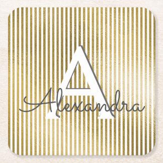 White & Gold Foil Striped Monogram & Initial Square Paper Coaster