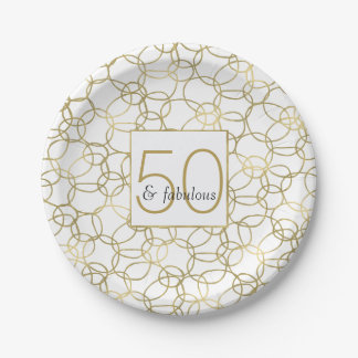 White Gold Glam Stylish Circles 50 and Fabulous 7 Inch Paper Plate