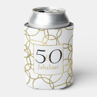 White Gold Glam Stylish Circles 50 and Fabulous Can Cooler