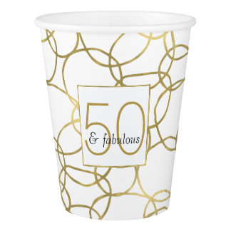 White Gold Glam Stylish Circles 50 and Fabulous Paper Cup