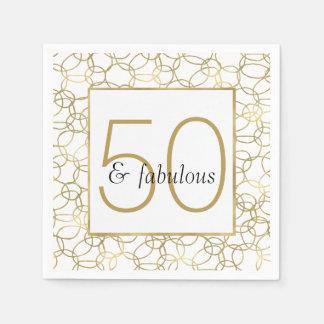 White Gold Glam Stylish Circles 50 and Fabulous Paper Napkins